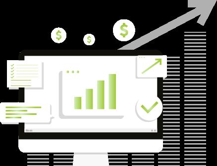 Ilustração de Monitor de computador com gráficos sobre economia