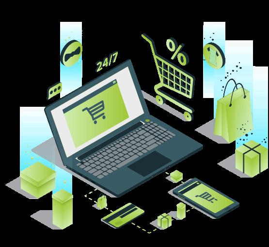 Laptop com ícones de e-commerce
