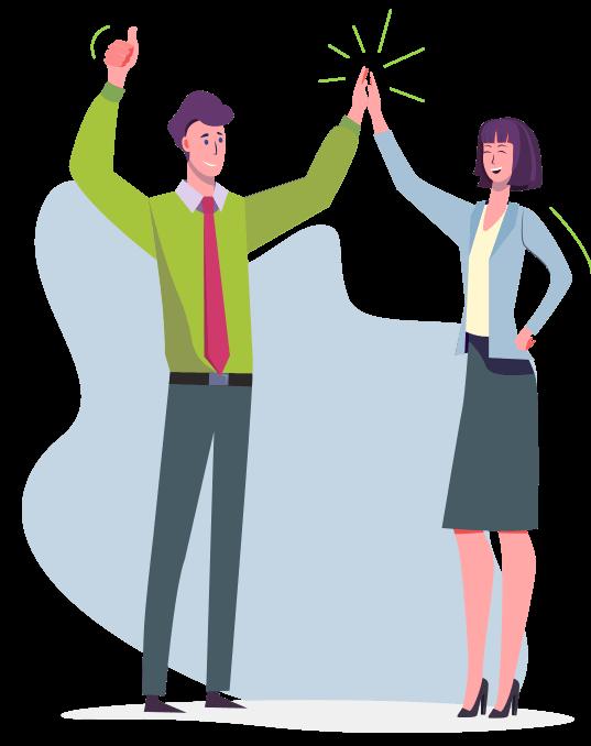 Ilustração homem e mulher se cumprimentando
