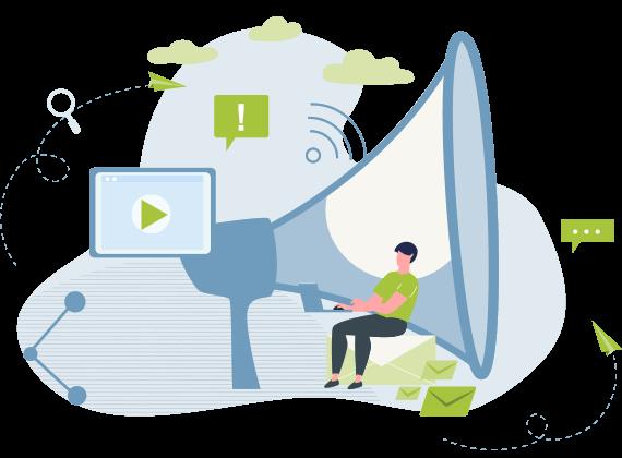 Ilustração com homem sentdo de frente a um laptop e um mega-fone gigante
